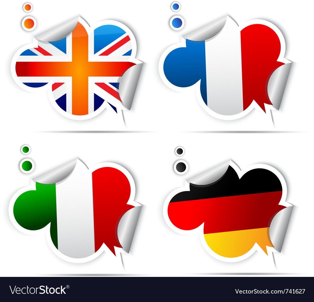 European national flag stickers vector image
