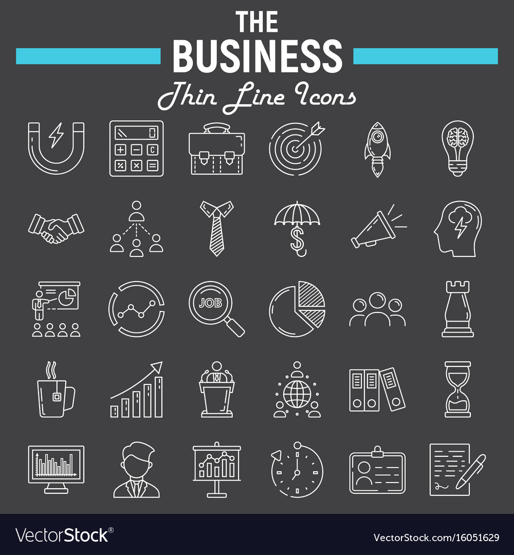 Business line icon set finance symbols collection vector image