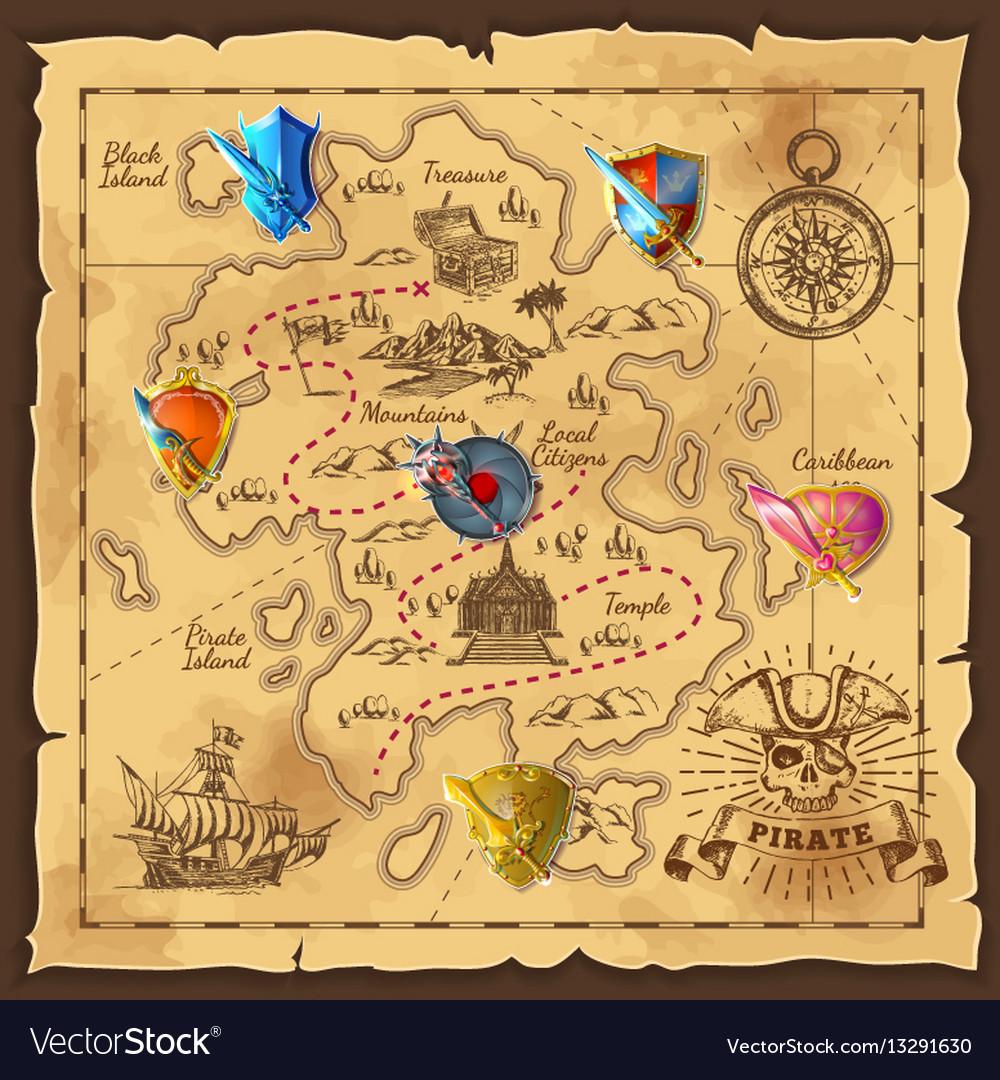 Cartoon island map template vector image