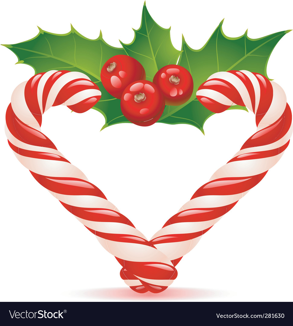 Christmas heart candy canes vector image
