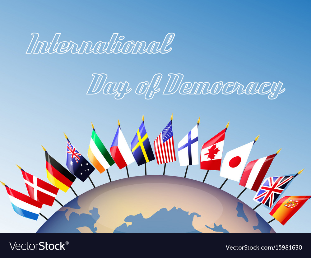 Earth and the flags of democratic states vector image