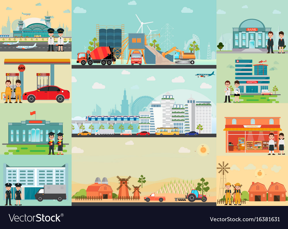 City life info graphics with industrial area vector image