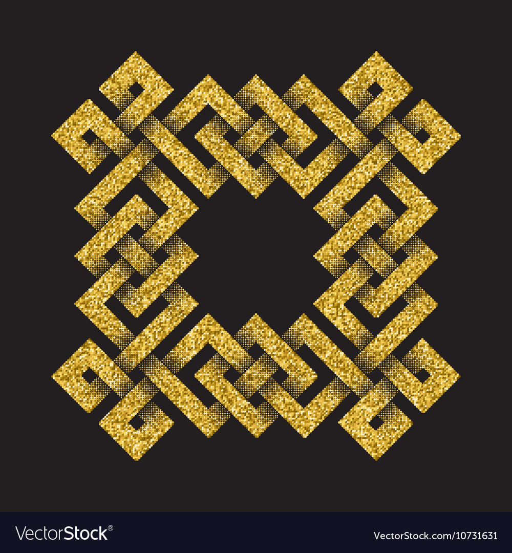 Golden glittering logo template in Celtic knots vector image