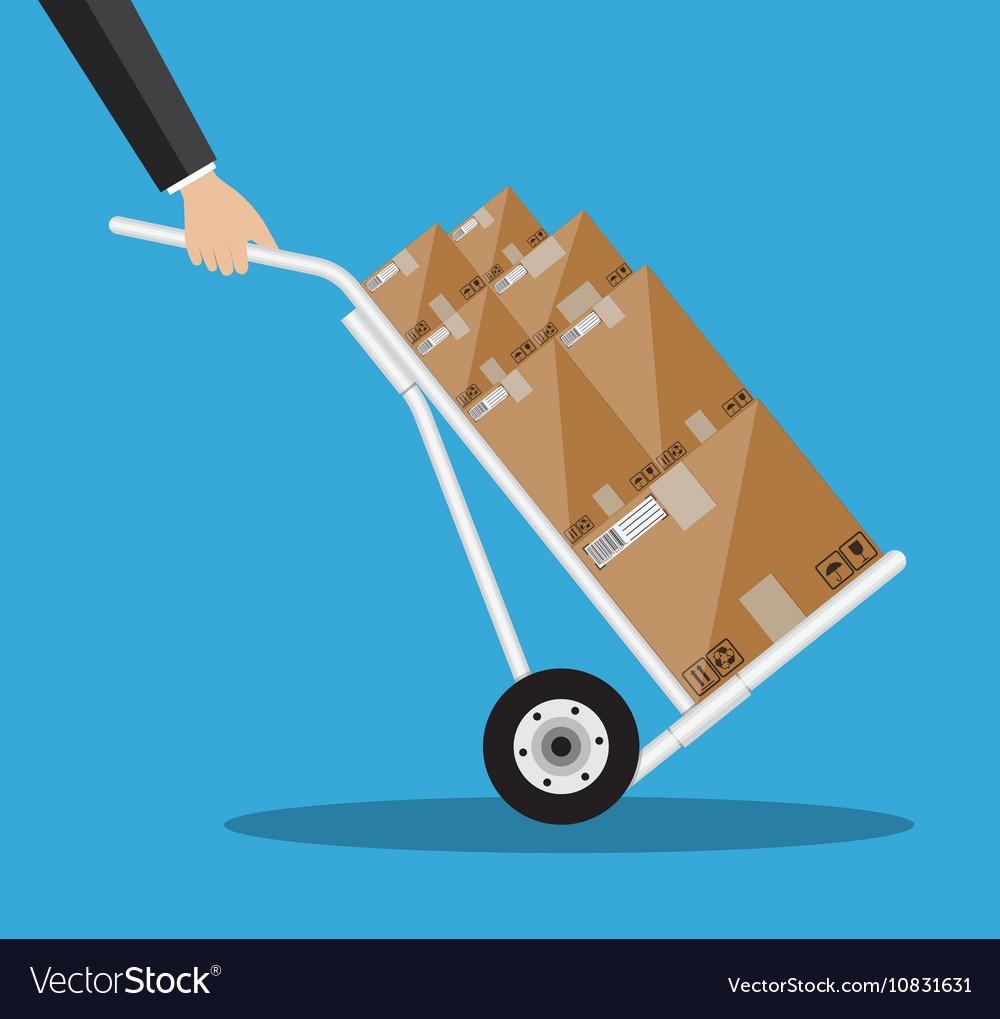 Metallic hand truck vector image