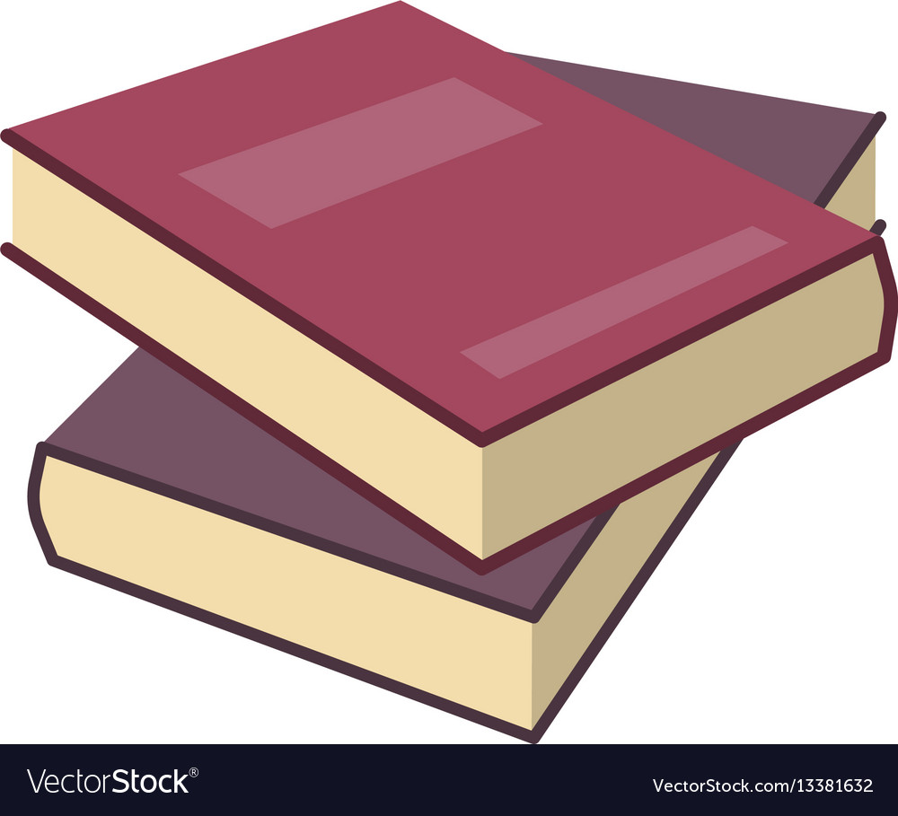 Red two isometric book in flat design style vector image
