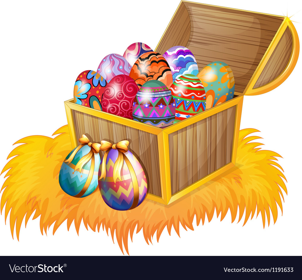 A wooden box with easter eggs vector image
