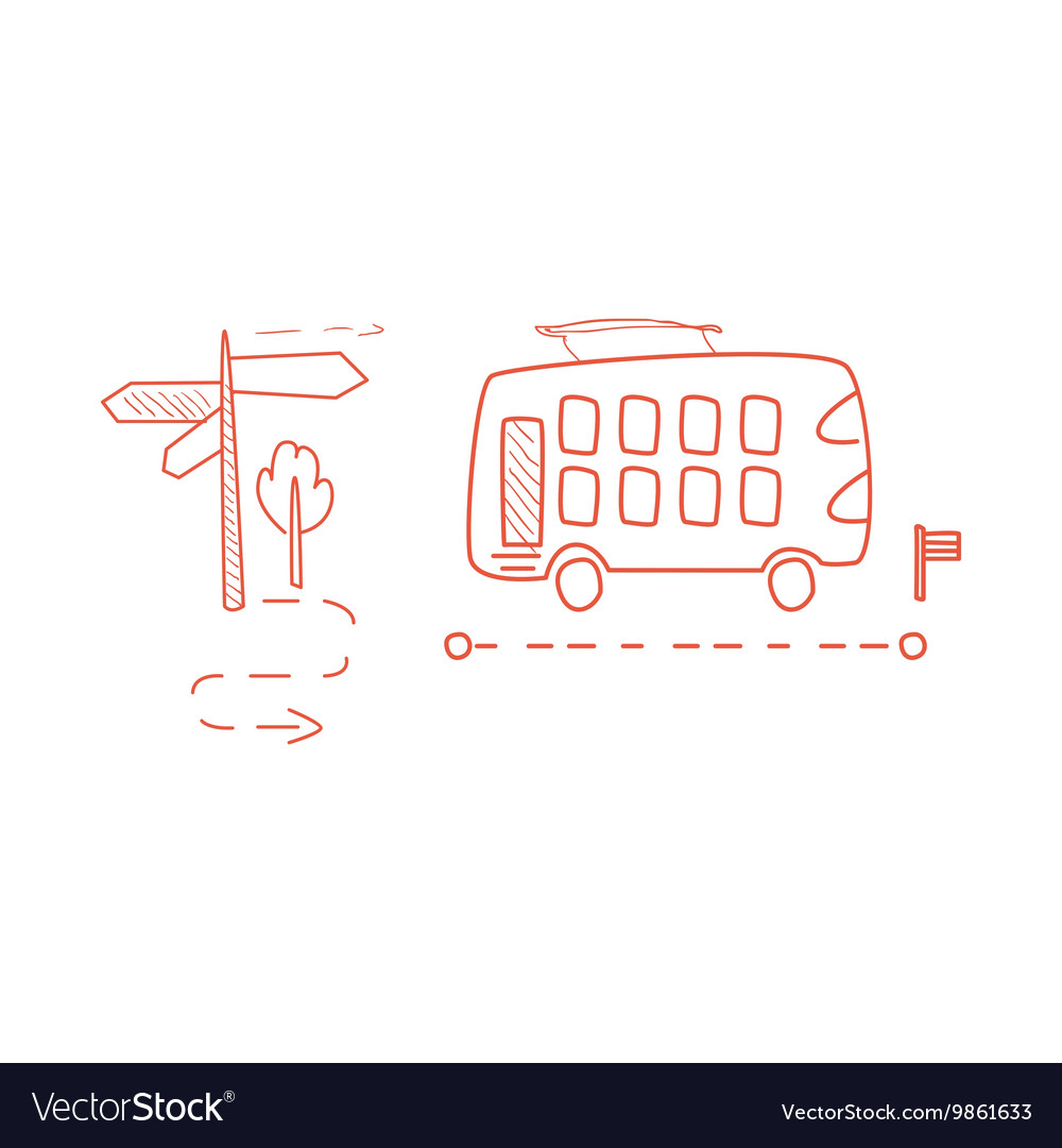 Double Decked Bus With The Dotted Line Route vector image