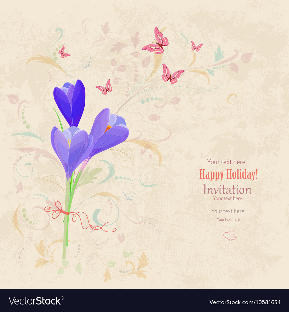 Lovely bouquet of crocus on grunge background vector image