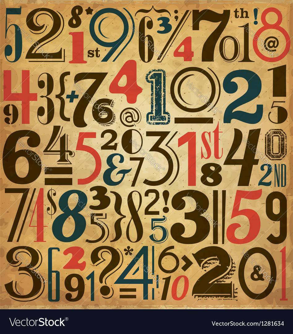 Vintage Numbers vector image