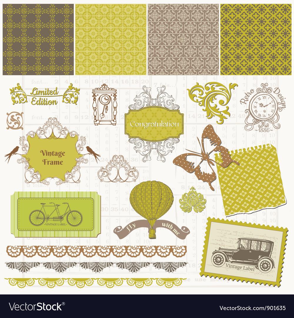 Scrapbook Design Elements - Vintage Time Set Vector Image