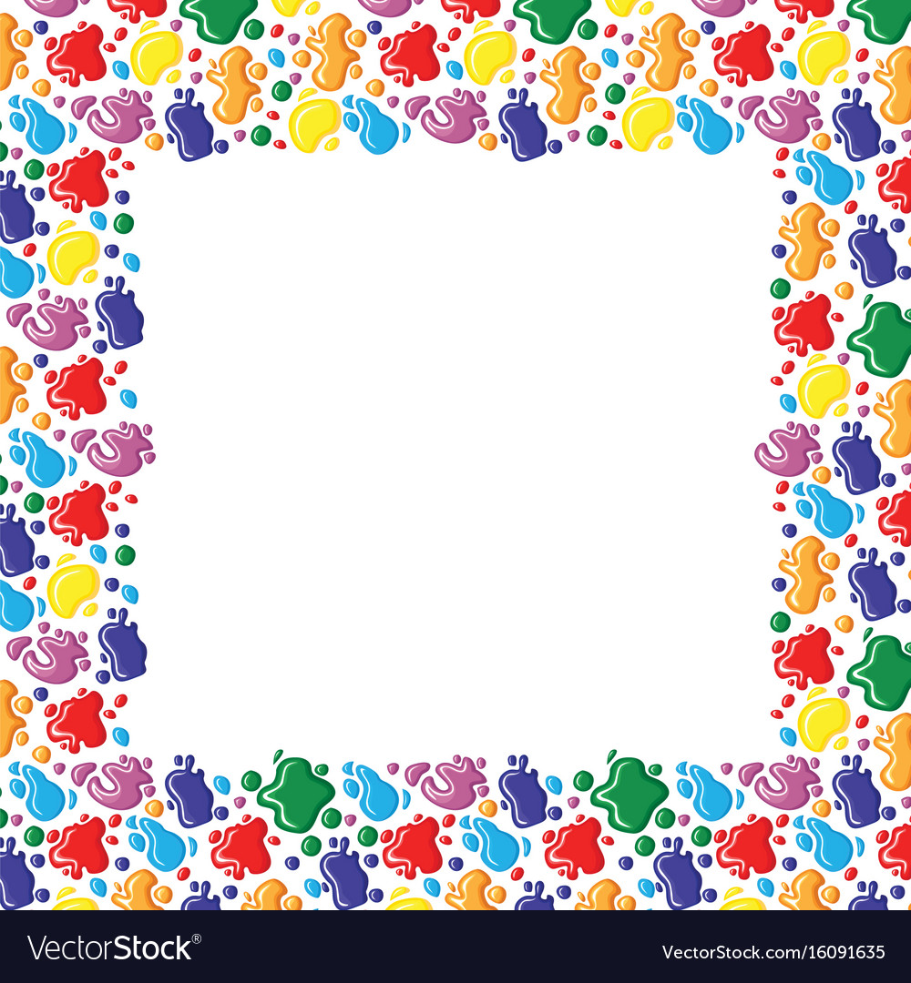 Color frame of paints drops and blots vector image