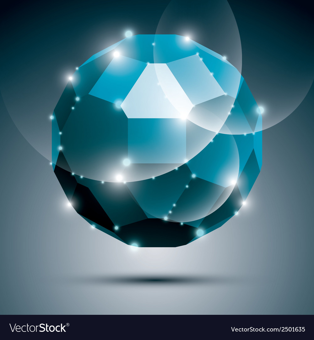 Dimensional blue sparkling disco ball abstract vector image