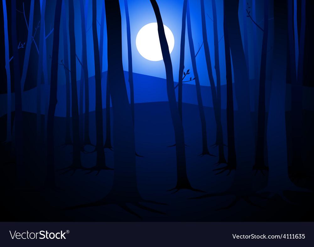 Full Moon Amongst Trees vector image