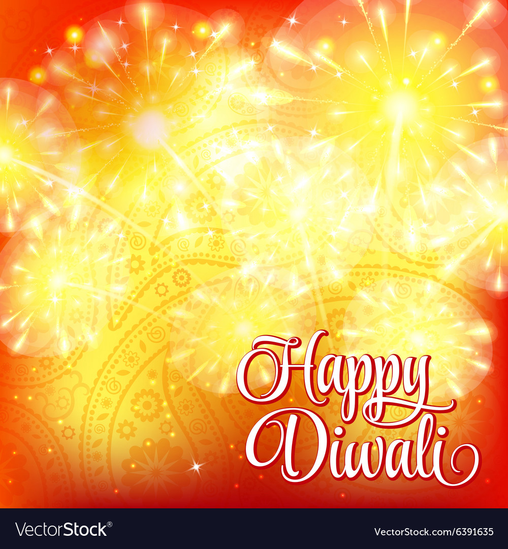 Happy Diwali festival of lights Fireworks on vector image