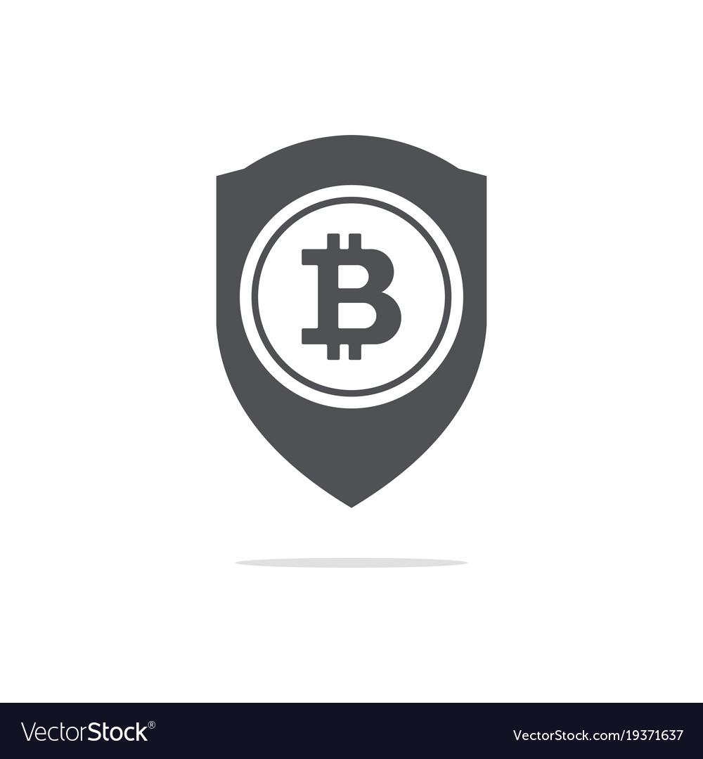 Bitcoin trust symbol on the shield line icon vector image biocorpaavc Choice Image