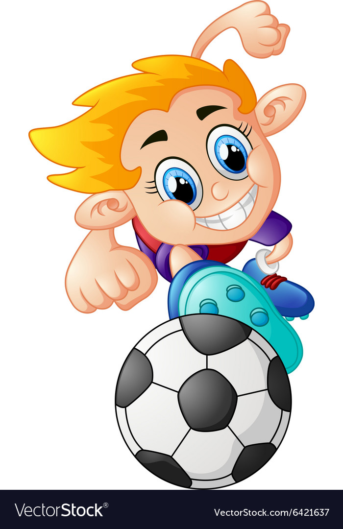Boy playing football vector image