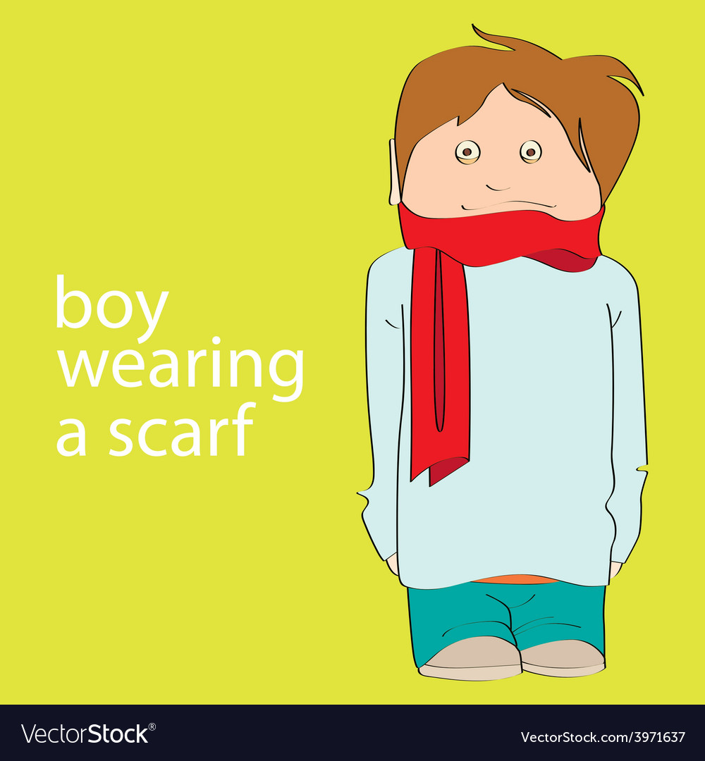 Boy wearing a scarf vector image