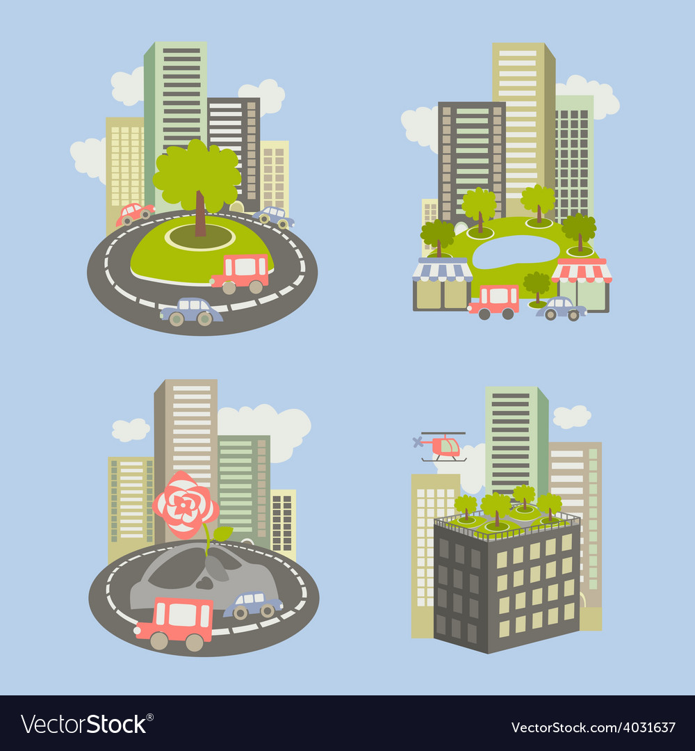 Icons about live nature in the city vector image