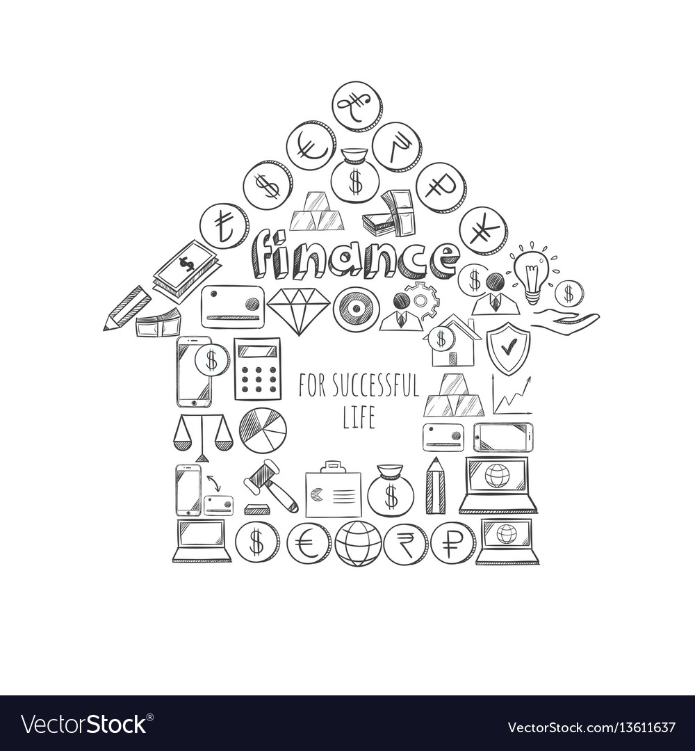 Sketch business success concept vector image