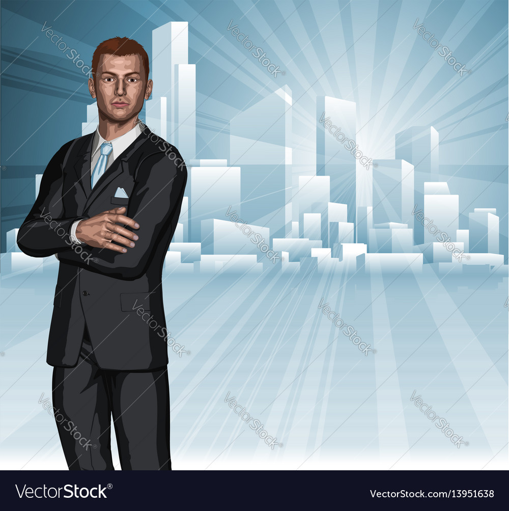 Confident young businessman city skyline concept vector image
