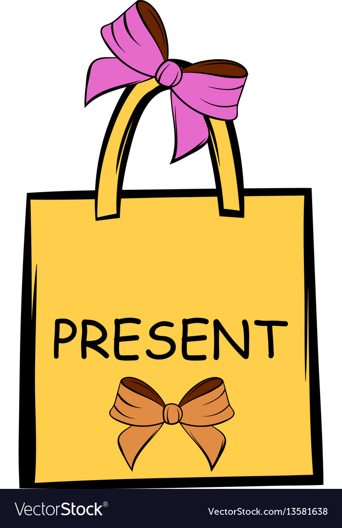 Paper bag with bows icon cartoon vector image