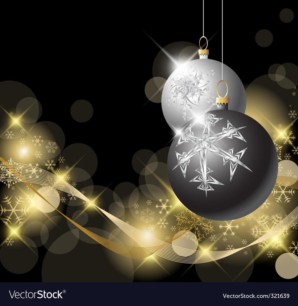 Black and silver Christmas bulbs vector image