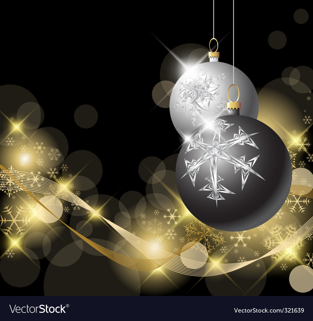 Black and silver Christmas bulbs vector image