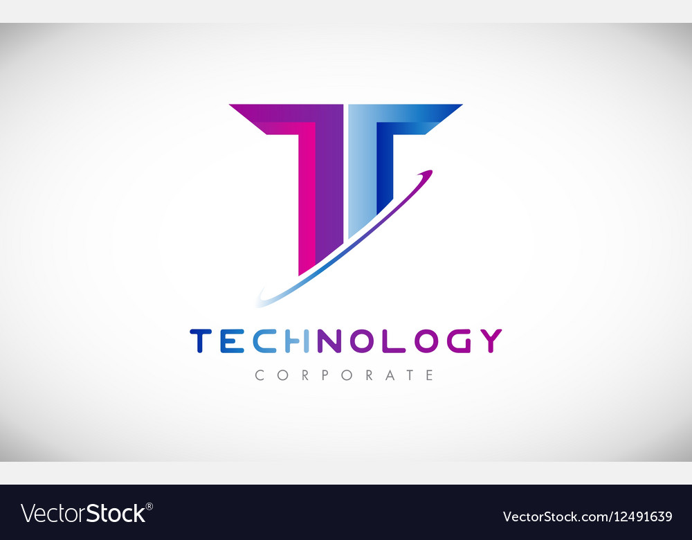 Tech letter T alphabet logo icon design vector image
