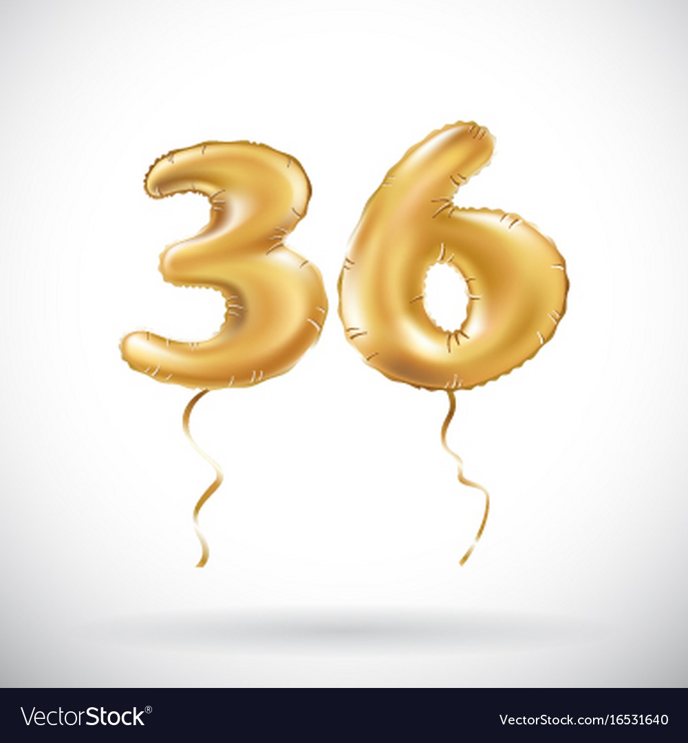 Golden number 36 thirty six metallic balloon vector image