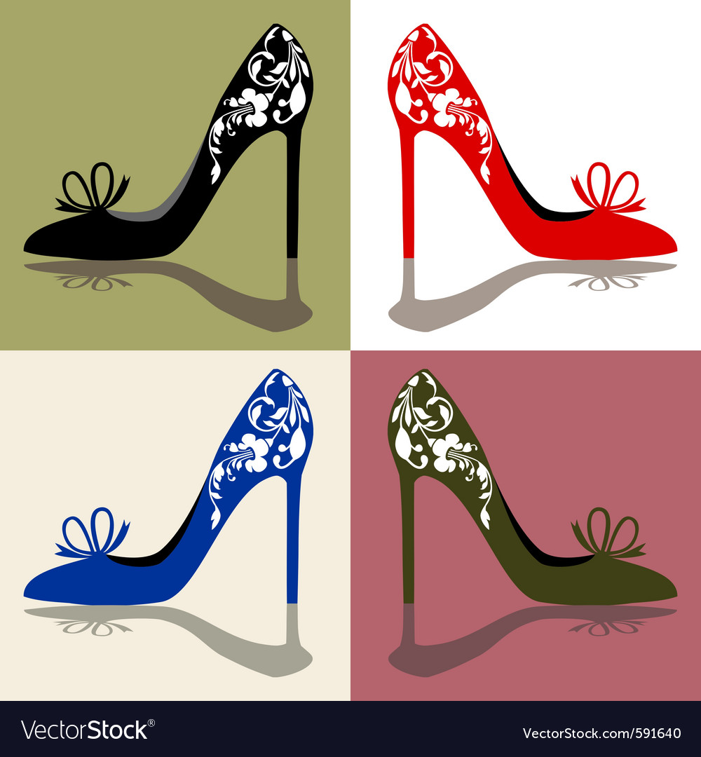 Set of shoes silhouettes vector image