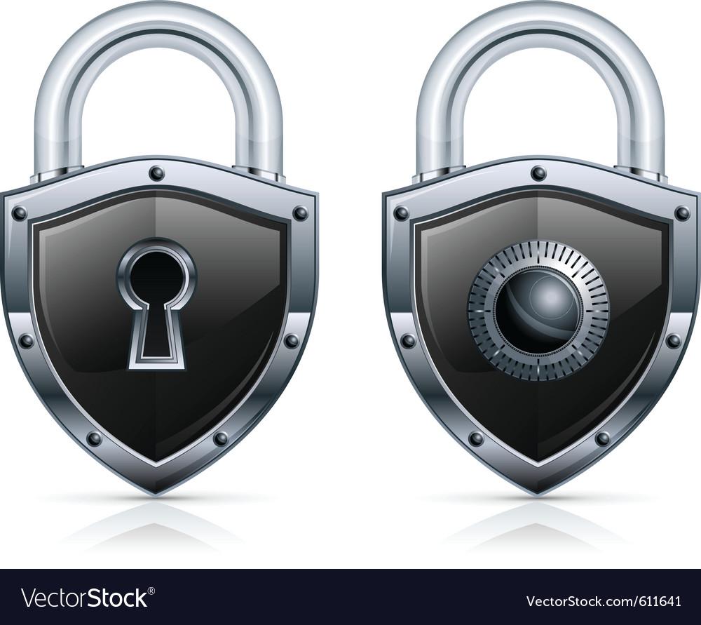 Black metal padlock vector image
