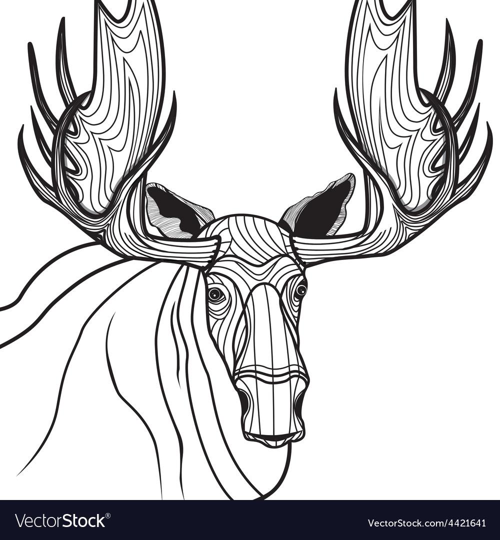 Moose head animal for t-shirt Sketch elk tattoo de vector image