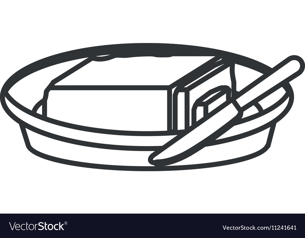 Plate with butter bar vector image