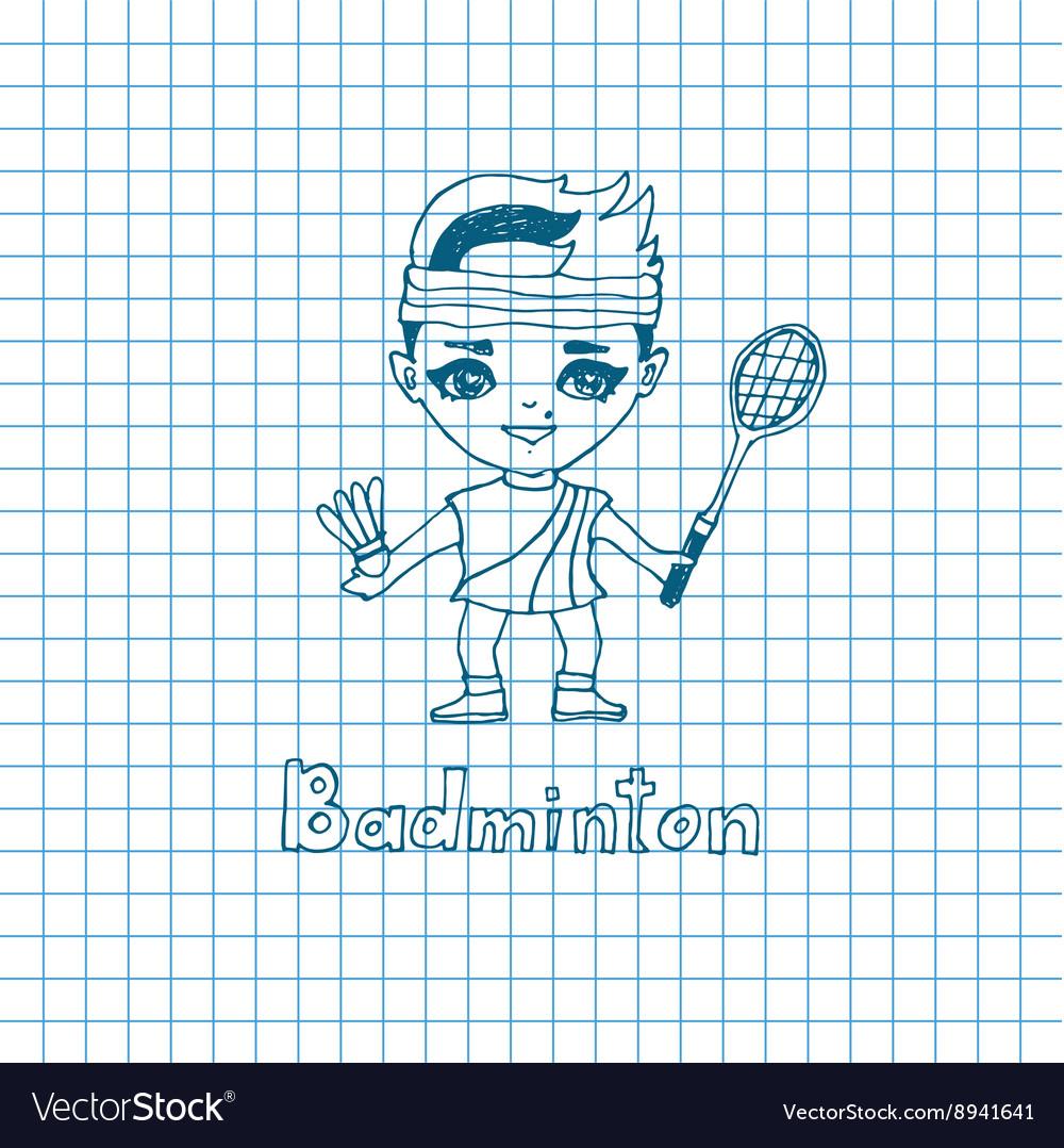 Sketch Girl Badminton player vector image