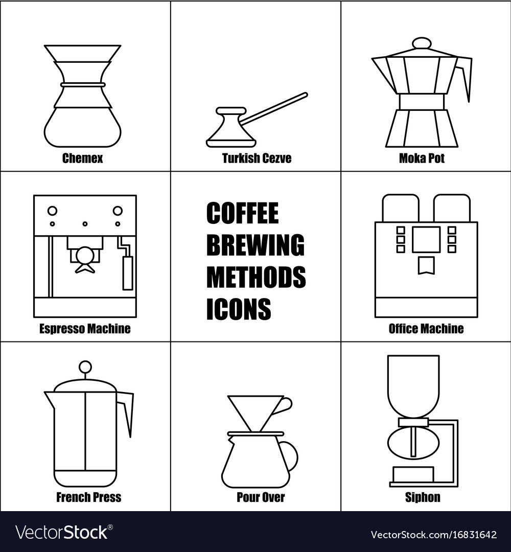 Coffee brewing methods thin line icon set french vector image