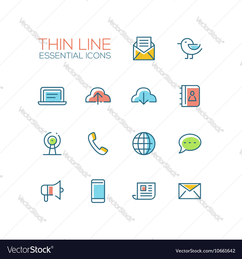 Network and Technology Symbols - thick line design vector image