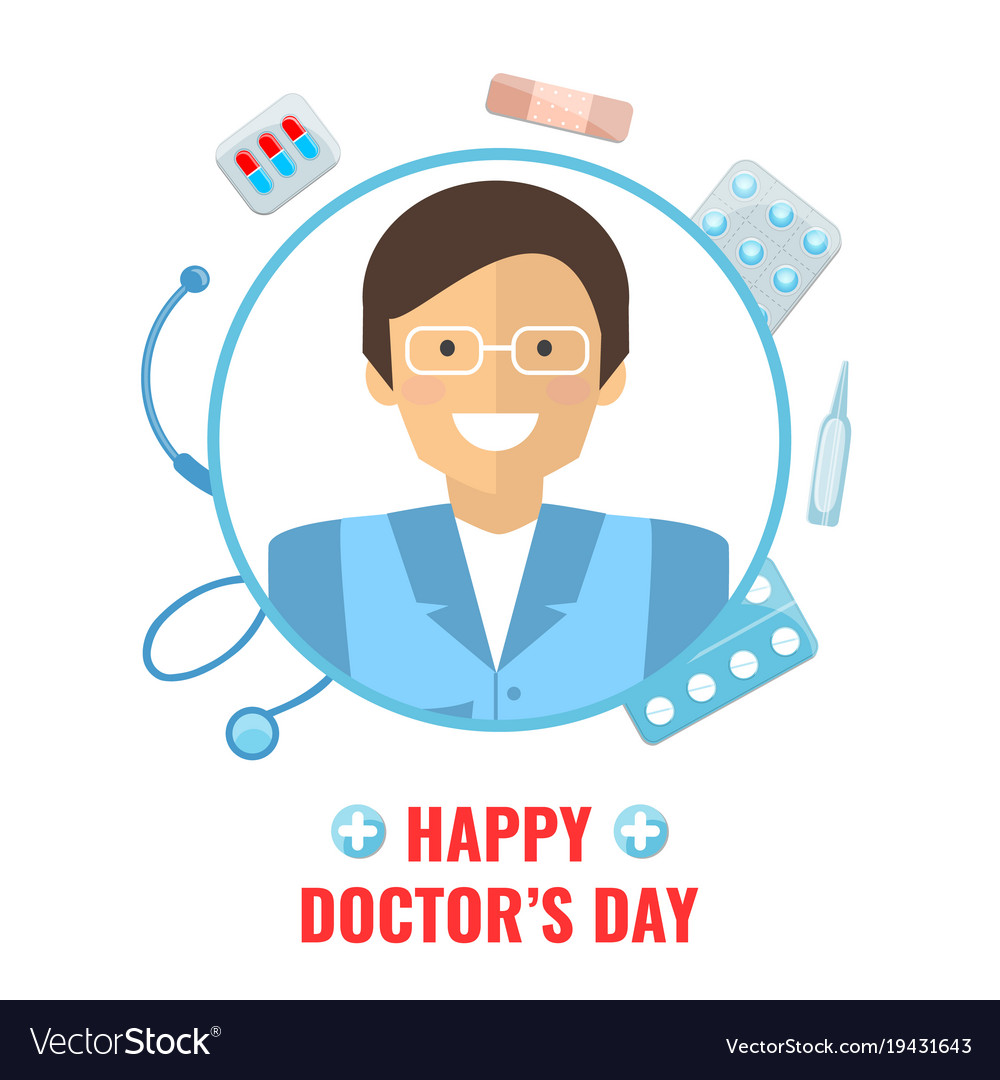 Happy doctor day concept vector image