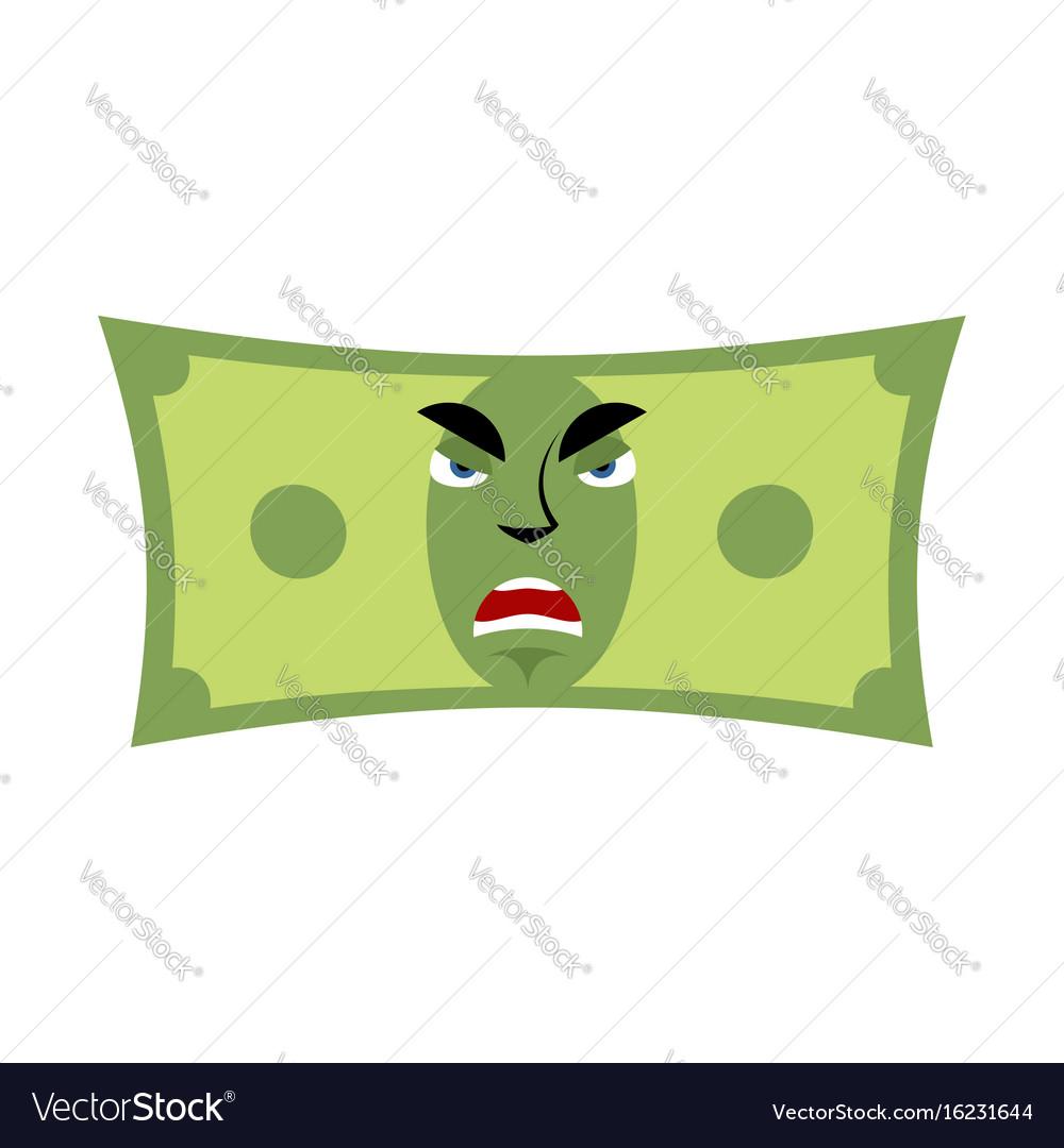 Money angry emotion cash emoji evil dollar vector image