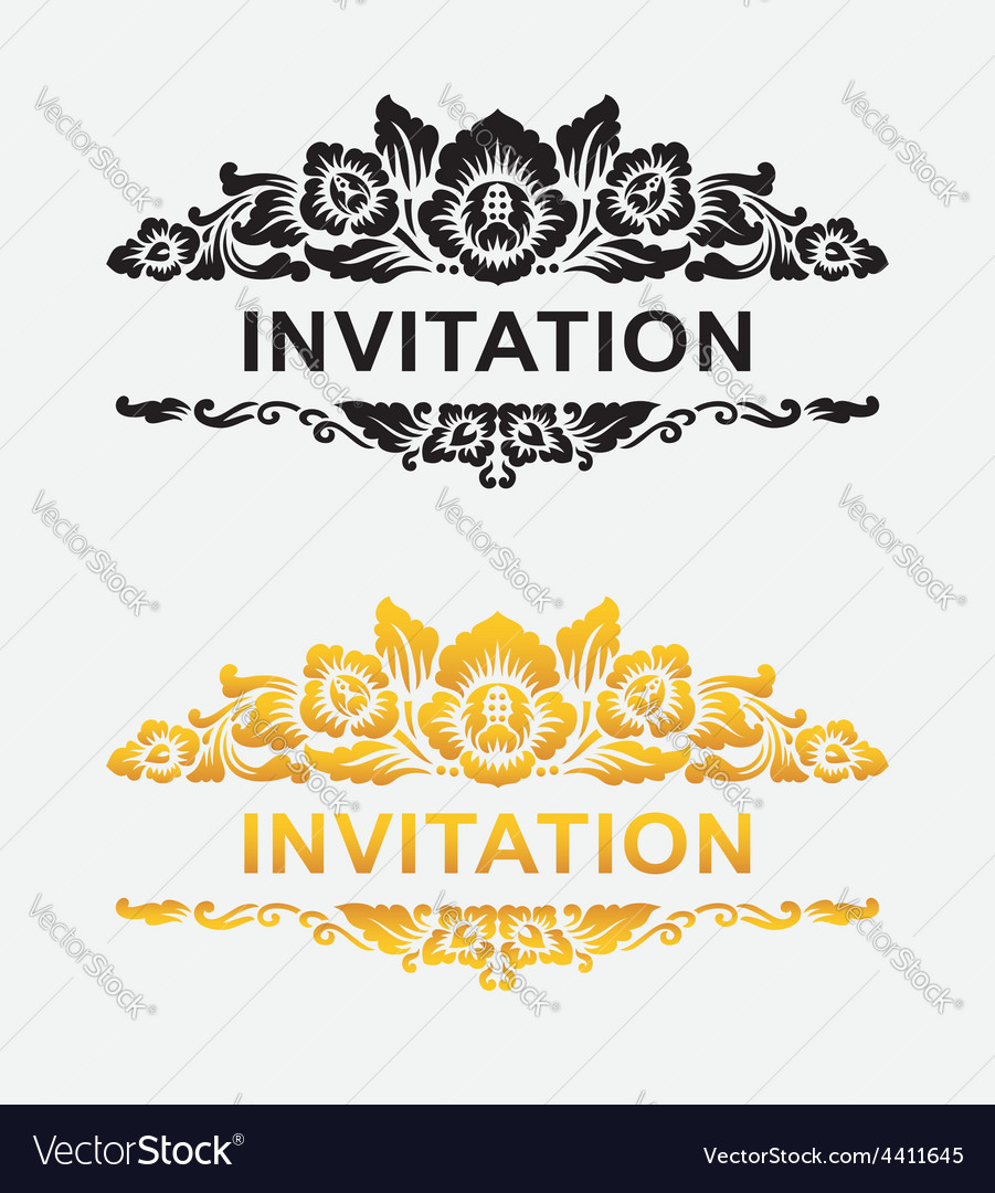 Invitation floral ornament decoration royalty free vector invitation floral ornament decoration vector image stopboris Choice Image
