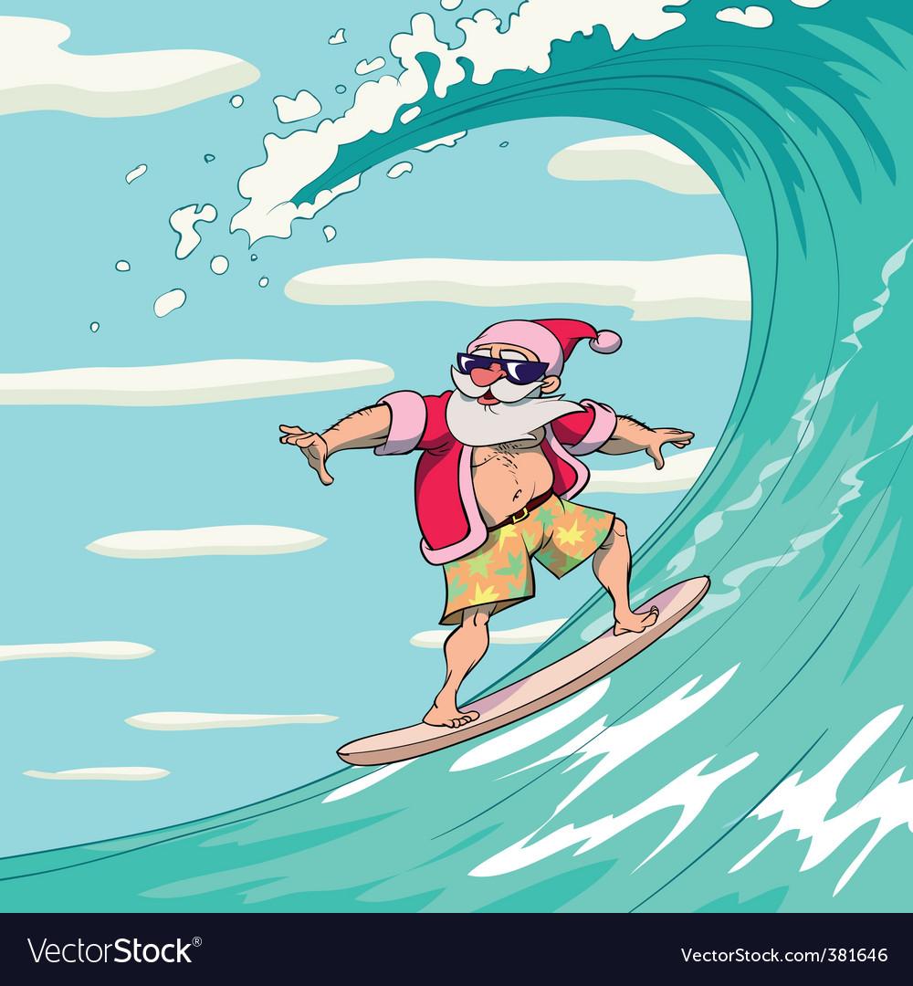 Surfing Santa Claus Royalty Free Vector Image - VectorStock