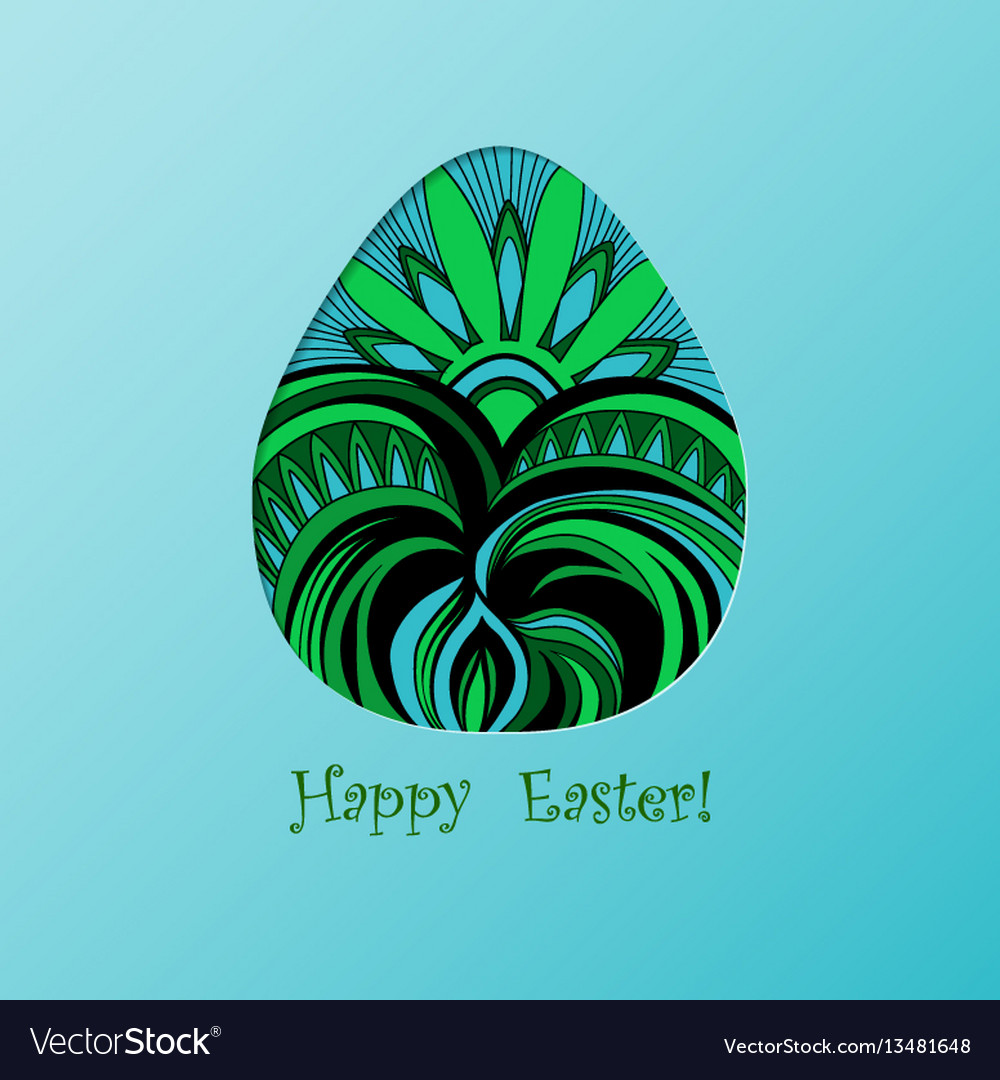 Card of easter with graphic color egg vector image