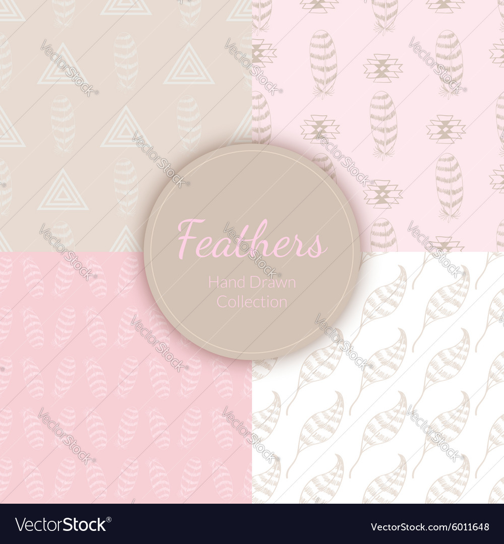 Doodle Hand drawn Seamless Patterns Set vector image