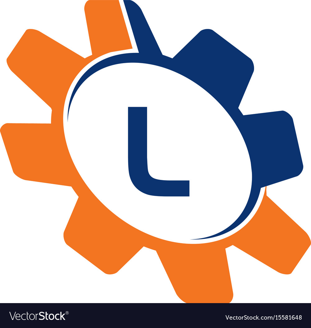 Gear initial l vector image