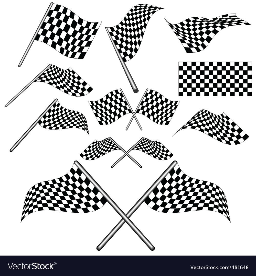 Set of checkered flag vector vector image
