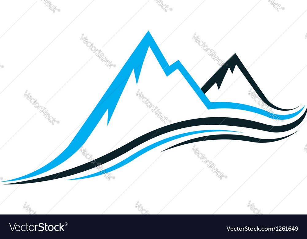 Mountain swoosh logo Vector Image