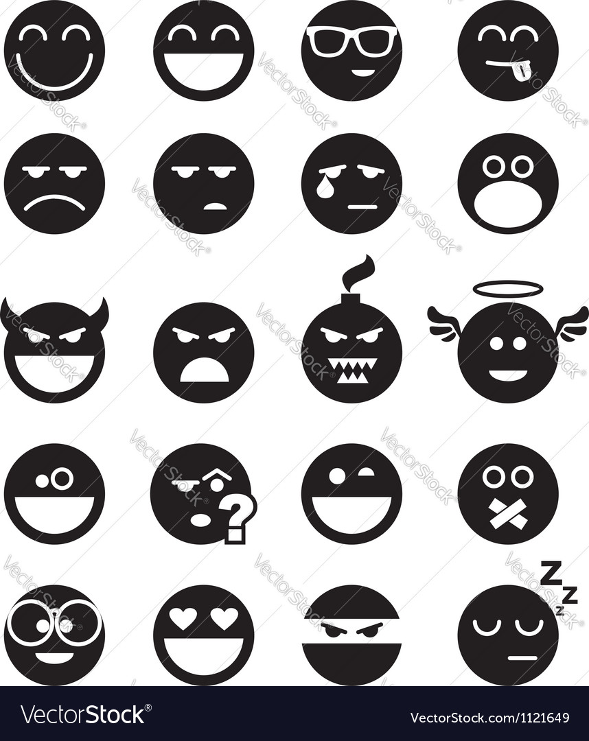 Black smiles vector image