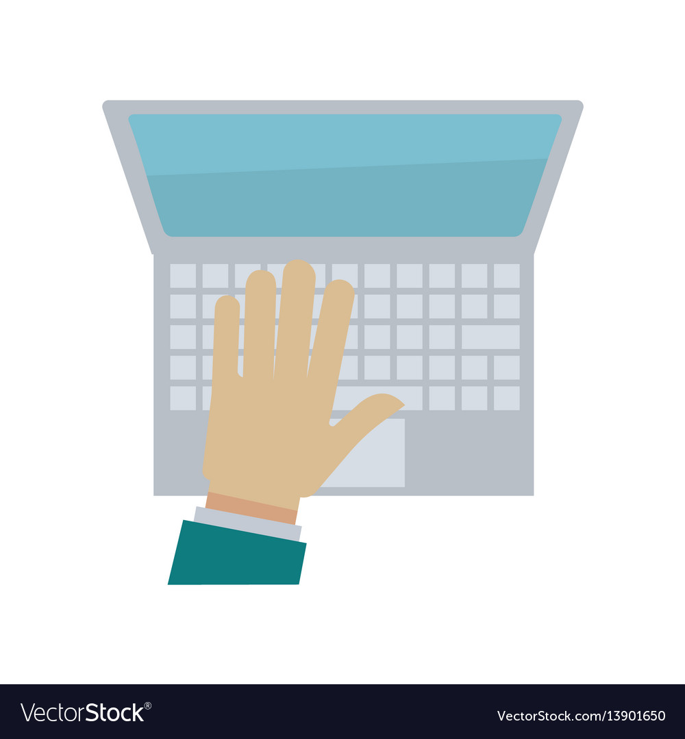 Hand typing on laptop or computer keyboard vector image