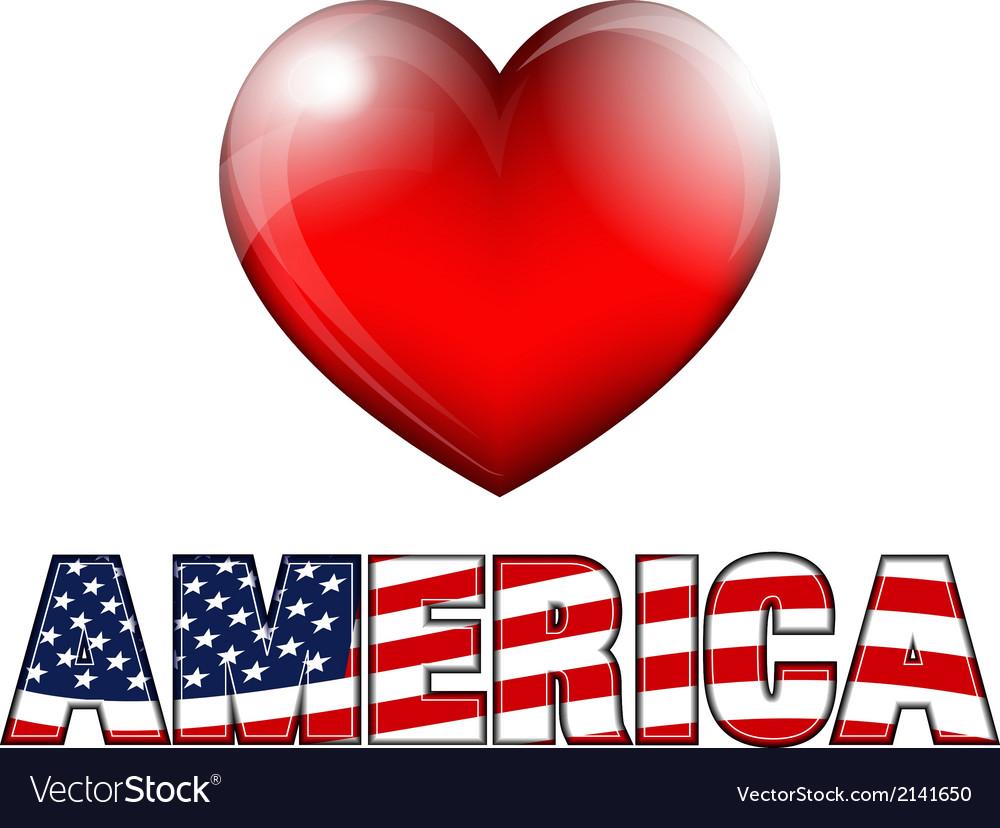 Heart AMERICA vector image