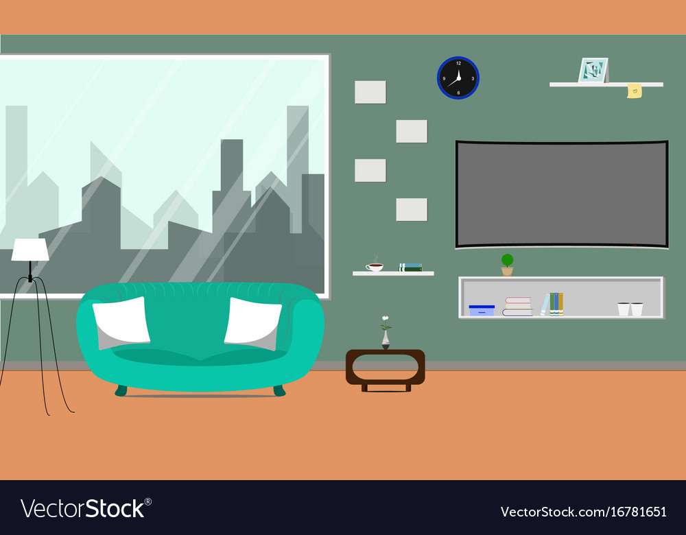 Living room with curved smart tv vector image