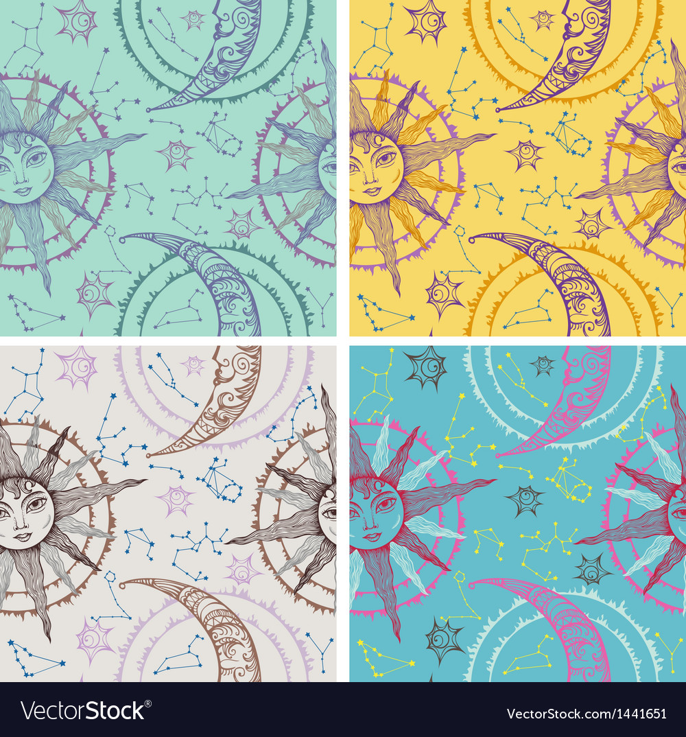 Set of seamless sun moon backgrounds vector image